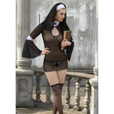 Áttetsző szexi apáca jelmez
