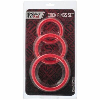 Toyfa Black&Red szilikon péniszgyűrű szett - piros